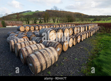 View of whisky barrels at Lindores Abbey Distillery in Newburgh, Fife, Scotland, UK - Stock Photo