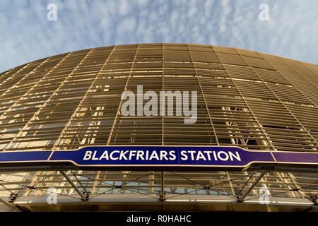 LONDON - OCTOBER 31, 2018: Blackfriars train station building with entrance sign in London - Stock Photo