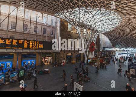 LONDON - OCTOBER 31, 2018: Interior of building at Kings Cross train station in London - Stock Photo