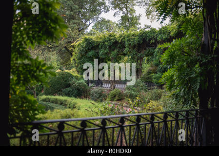 Autumn views of the Conservatory Garden in Central Park, New York City. - Stock Photo