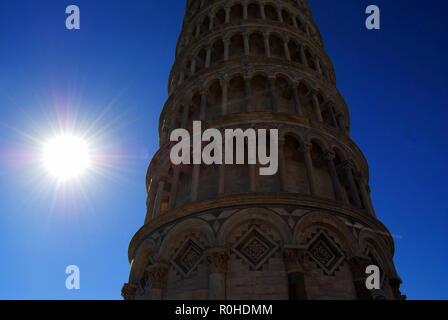 View of Pisa tower. Pisa. Italy. Sunny day. - Stock Photo