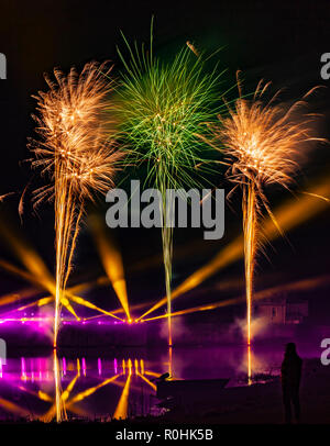 Leeds Castle, Kent, England, UK. 4th November 2018.  The biggest firework display in the South East of England, Leeds Castle puts on a spectacular show.  Credit: Tony Watson/Alamy Live News - Stock Photo