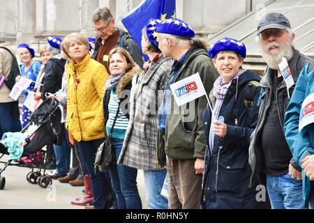 London, UK. 5th Nov 2018. The Last Mile,Protesters form a human chain from Parliament Square to 10 Downing Street to campaign for the right to stay in the UK after Brexit,London.UK Credit: michael melia/Alamy Live News - Stock Photo