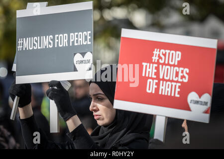 London, UK. 4th Nov 2018. British Muslims join the annual Arbaeen Procession at Marble Arch. Credit: Guy Corbishley/Alamy Live News - Stock Photo