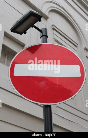 No Entry Sign (UK) - White line in red circle - Stock Photo