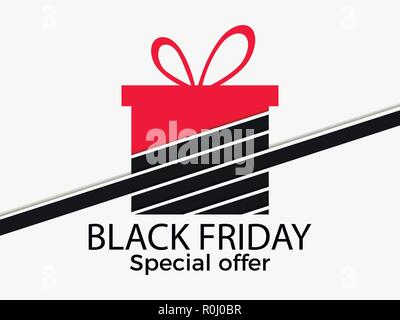 Black friday. Gift box with ribbon isolated on white background. Big discounts and sales. Vector illustration - Stock Photo