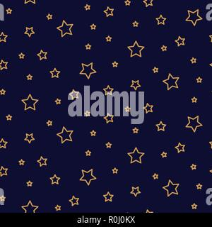 Starry night seamless pattern background blue and gold shapes in retro style. - Stock Photo