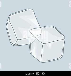 Two ice cubes set on white background. - Stock Photo