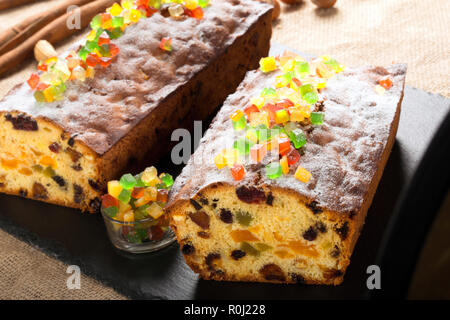 Fresh fruitcake on the stone background - Stock Photo