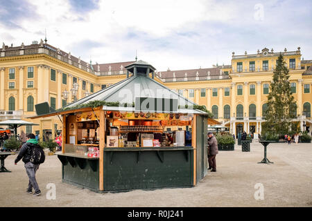 Christmas Market in front of Schonbrunn Palace in Vienna Austria - Stock Photo