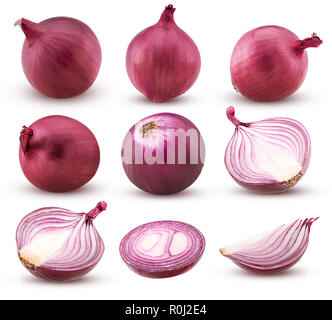 Collection  red onion with slices and cut in half isolated on white background. Clipping Path. Full depth of field. - Stock Photo