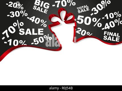 gift box from ribbons isolated on white background vector illustration, birthday holiday symbol, Christmas - Stock Photo