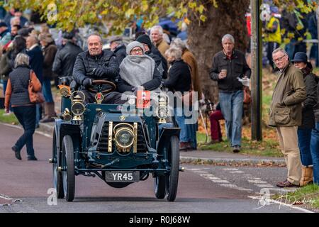 Veteran cars pass through Staplefield whilst taking part in the annual London to Brighton Veteran Car Run - 2018 - Stock Photo