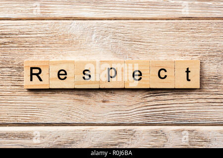 respect word written on wood block. respect text on table, concept. - Stock Photo