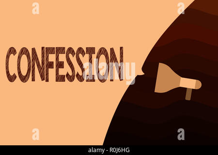 Handwriting text Confession. Concept meaning Statement admitting one is guilty of crime Religious doctrine. - Stock Photo