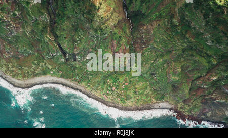 Top view of waterfall of 'Rocha do Navio' at Santana, Madeira island. - Stock Photo