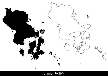 Southeast Sulawesi (Subdivisions of Indonesia, Provinces of Indonesia) map vector illustration, scribble sketch Southeast Sulawesi map - Stock Photo