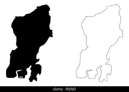 Muna Island (Subdivisions of Indonesia, Provinces of Indonesia) map vector illustration, scribble sketch Muna map - Stock Photo