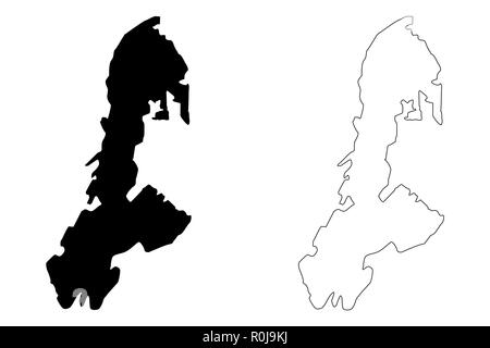 Buton Island (Subdivisions of Indonesia, Provinces of Indonesia) map vector illustration, scribble sketch Buton (Butung, Boeton or Button) map - Stock Photo