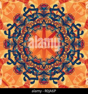 Mandala vector decorative background. Template frame design for card with place for your text. - Stock Photo