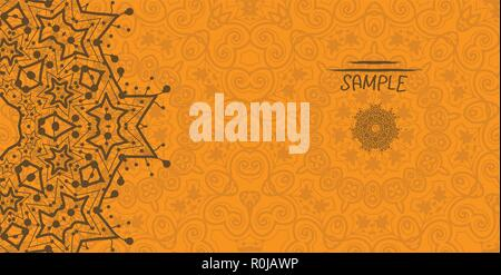 Orange greeting card with tribal ornament. Flayer template. Wedding invitation card design. Retro ethnic lace. Oriental motif - Stock Photo