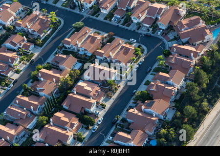 Aerial view of tightly packed homes in the San Fernando Valley area of Los Angeles, California. - Stock Photo