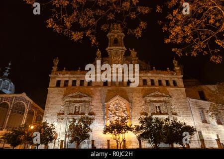 Facade of the La Lonja, The Llotja de la Seda or the La Lonja Silk Exchange ,at night, Valencia, Spain - Stock Photo