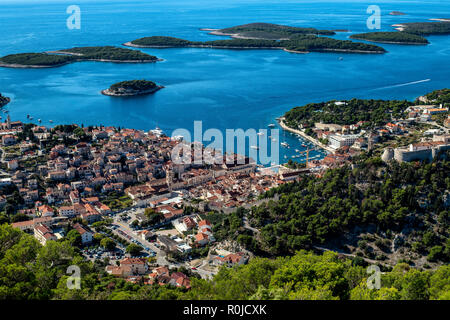 The port town of Hvar, on the island of Hvar island in the Adriatic Sea, Croatia. - Stock Photo