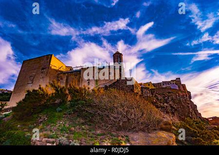 Beautiful alley of castelsardo old city - sardinia - italy. - Stock Photo