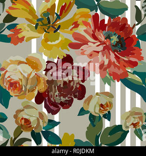 Vintage floral seamless background pattern. Blooming garden flowers. Vector illustration in hand drawn style. - Stock Photo
