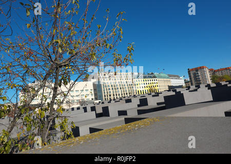 Berlin Germany the Memorial to the Murdered Jews of Europe in Autumn 2018 - Stock Photo