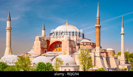 Hagia Sophia in summer, Istanbul, Turkey. Hagia Sophia or Ayasofya is one of the best-known sights of the city. - Stock Photo