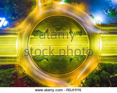 Aerial Drone At Night Showing Traffic in Sofia Bulgaria - Stock Photo