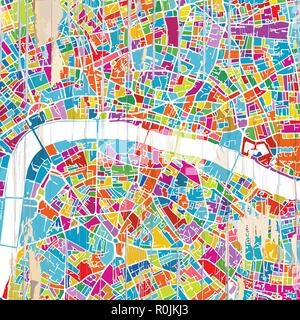 London Colorful map. Vintage map series. - Stock Photo