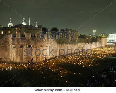 View of the thousands of torches lit to remember the World War One Armistice Centenary at the Tower of London November 2018 - Stock Photo