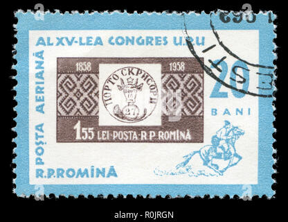 Postage stamp from Romania in the Stamp Day series issued in 1963 - Stock Photo