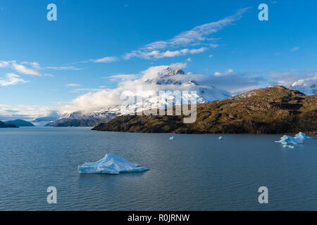 View of Grey Lake at Torres del Paine National Park in Chile - Stock Photo