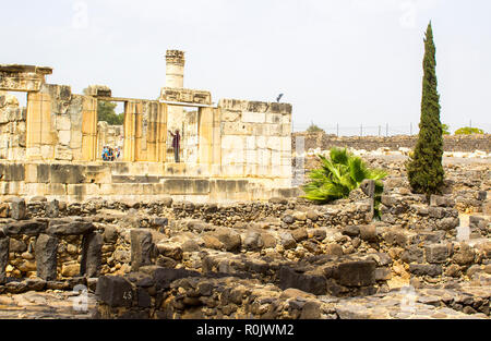 3 May 2018 The excavated ruins of a fist century Jewish Synagogue in the ancient town of Capernaum in Israel - Stock Photo