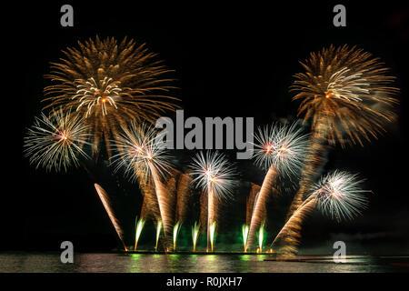Fireworks display celebration, New Year colorful firework - Stock Photo