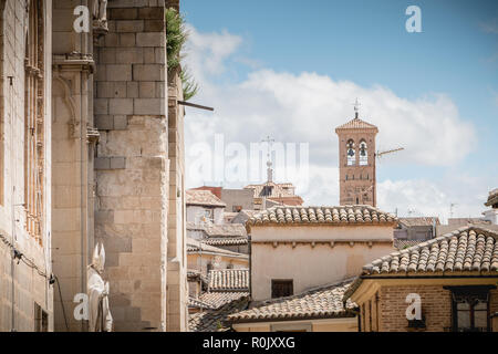 Toledo, Spain - April 28, 2018: Architectural detail of houses typical of the historic city center on a spring day - Stock Photo