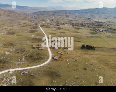 Aerial view over village destroyed by Balkan War,Bosnia. - Stock Photo