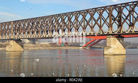 Old Steel Railway Bridge Over River Sava in Belgrade - Stock Photo