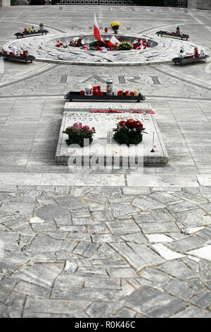 Tomb of General Wladislaw Anders at the Polish War Cemetery Monte Cassino, Italy with his fallen troops of the Free Polish Army WW II