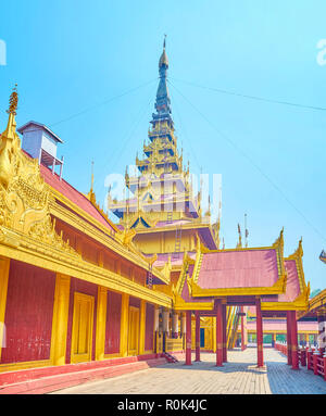 The former residence of Burmese monarchy nowadays is a popular tourist destination of the country, Mandalay, Myanmar - Stock Photo