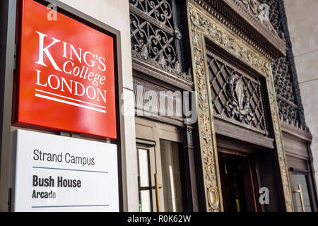 London England United Kingdom Great Britain Covent Garden Strand King's College Bush House Arcade university campus entrance Strand Campus - Stock Photo