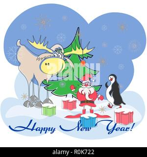 greeting card with santa, elk, penguin, christmas tree, gifts of happy new year - Stock Photo