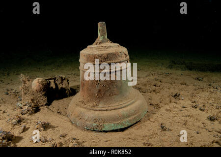 Ships bell on an unknown wreck, Oland, Sweden. - Stock Photo