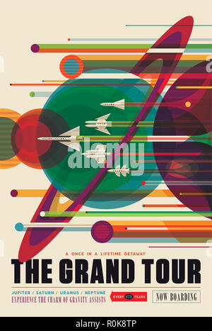 Retro space travel poster of a solar system grand tour aboard the Voyager spacecraft. - Stock Photo