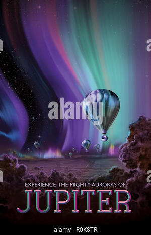 Retro space travel poster of the glowing auroras on planet Jupiter. - Stock Photo