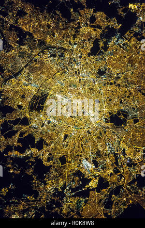 Aerial View Of Paris At Night From The Top Floor Of The